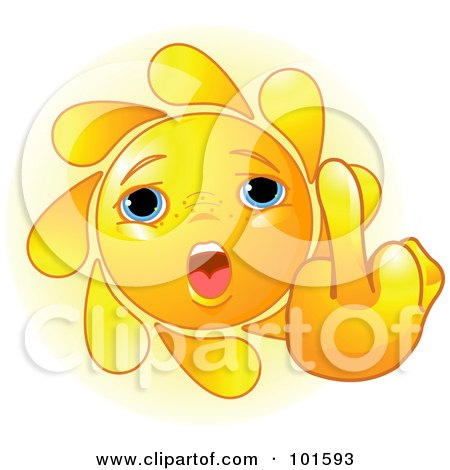 Royalty-Free (RF) Clipart Illustration of a Cute Sun Face Holding Up A Middle Finger by Pushkin