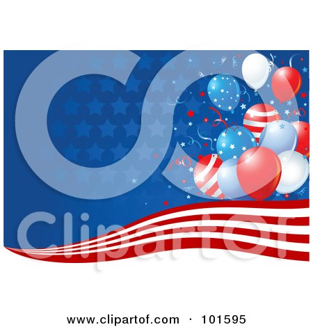Royalty-Free (RF) Clipart Illustration of a Background Of Stars Fading Into Blue, Red And White Stripes And Independence Day Balloons by Pushkin