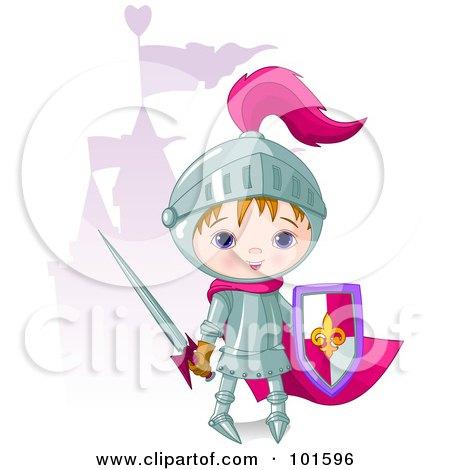 Royalty-Free (RF) Clipart Illustration of a Cute Boy Knight Standing Near A Purple Castle by Pushkin