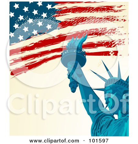 Royalty-Free (RF) Clipart Illustration of a Grungy American Background Of The Flag And The Statue Of Liberty by Pushkin