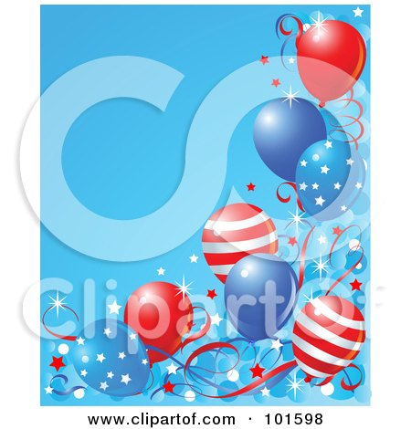 Royalty-Free (RF) Clipart Illustration of a Blue Background Bordered In American Party Balloons, Confetti And Ribbons by Pushkin