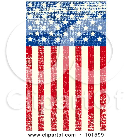 Royalty-Free (RF) Clipart Illustration of a Grungy American Background Of Distressed Stars And Stripes by Pushkin