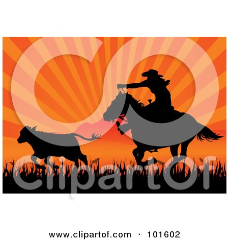 Royalty-Free (RF) Clipart Illustration of a Silhouetted Cowboy On Horseback Roping Cattle Against An Orange Sunset by Pushkin