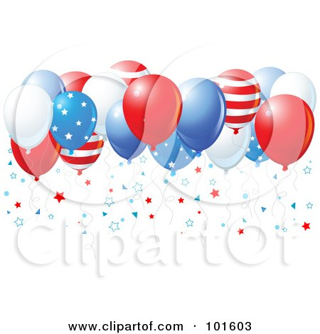 Royalty-Free (RF) Clipart Illustration of a Group Of American Balloons With Star Confetti by Pushkin