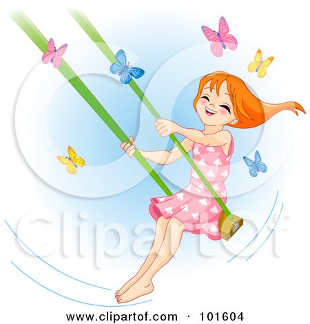 Royalty-Free (RF) Clipart Illustration of a Happy Red Haired Girl Swinging Past Butterflies by Pushkin