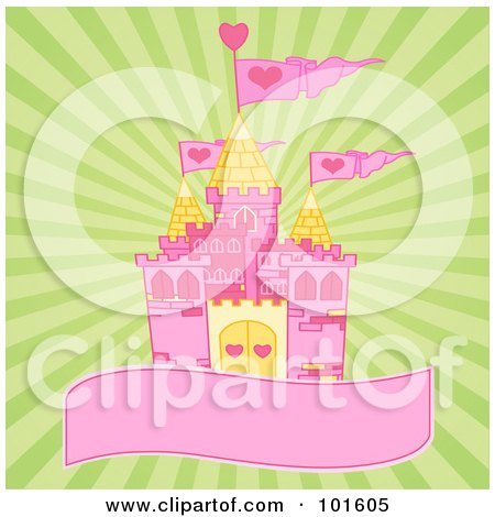 Royalty-Free (RF) Clipart Illustration of a Pink And Yellow Castle On A Blank Banner Over A Green Burst Background by Pushkin