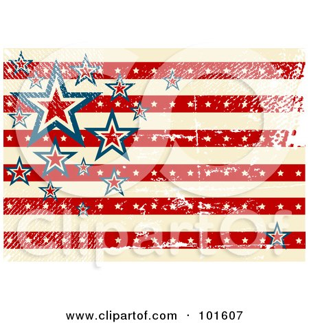 Royalty-Free (RF) Clipart Illustration of a Grungy American Background Of Stars And Stripes With Distress Marks by Pushkin