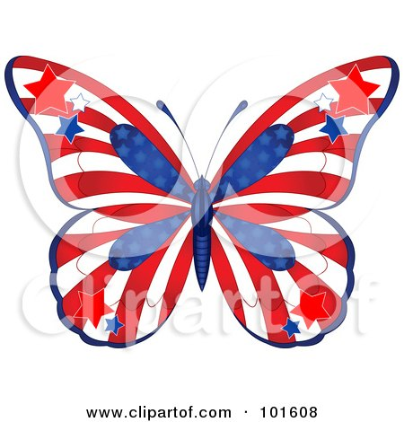 Royalty-Free (RF) Clipart Illustration of a Patriotic American Butterfly With Stars And Stripes by Pushkin