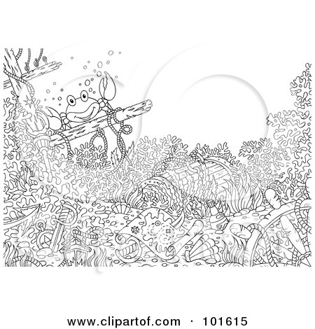 royalty free rf clipart illustration of a coloring page outline of a crab and sunken treasure by alex bannykh