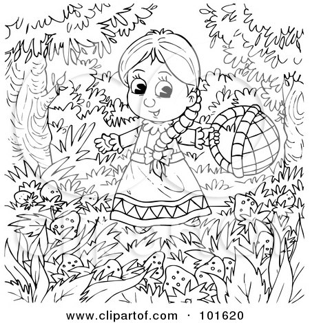 Royalty-Free (RF) Clipart Illustration of a Coloring Page Outline Of A Little Girl In A Strawberry Patch by Alex Bannykh