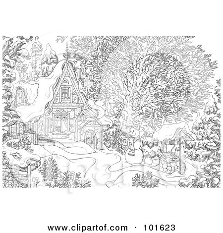 Royalty-Free (RF) Clipart Illustration of a Coloring Page Outline Of A Winter Snowman Near A Cottage by Alex Bannykh