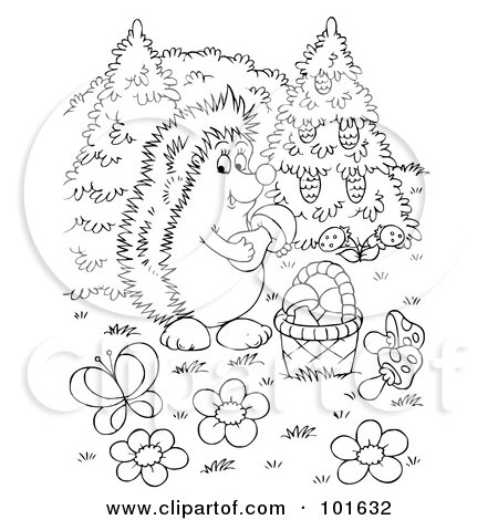 Royalty-Free (RF) Clipart Illustration of a Coloring Page Outline Of A Hedgehog Gathering Mushrooms by Alex Bannykh