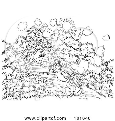 Royalty-Free (RF) Clipart Illustration of a Coloring Page Outline Of A Fox Chasing Away A Dog by Alex Bannykh
