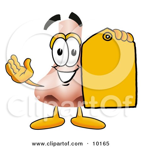 Clipart Picture of a Nose Mascot Cartoon Character Holding a Yellow Sales Price Tag by Toons4Biz