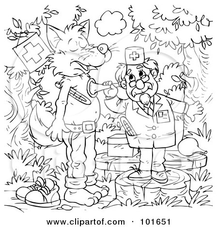 coloring page outline of a veterinarian helping a sick wolf