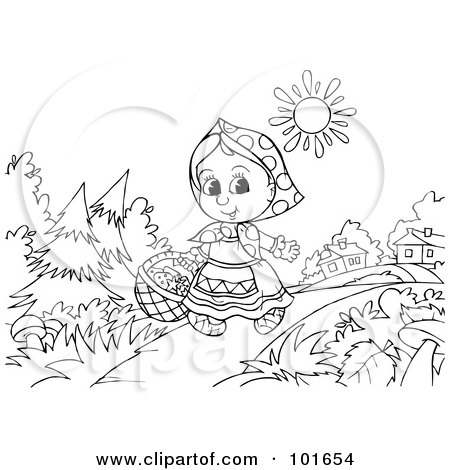 Royalty-Free (RF) Clipart Illustration of a Coloring Page Outline Of Little Red Riding Hood Walking Near A Village by Alex Bannykh