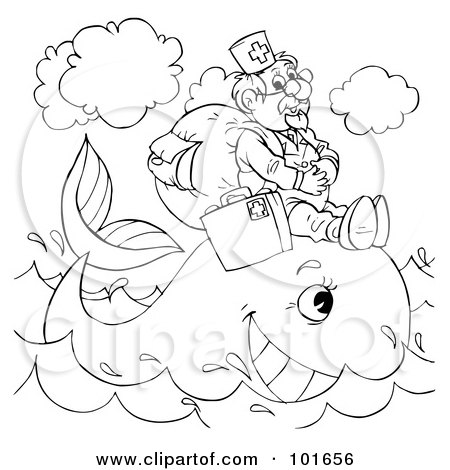 Royalty-Free (RF) Clipart Illustration of a Coloring Page Outline Of A Veterinarian Helping A Whale by Alex Bannykh