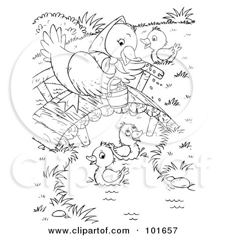 Royalty Free RF Clipart Illustration Of A Coloring Page Outline Mother Duck Watching Her Ducklings Swim By Alex Bannykh