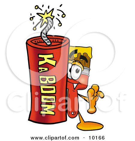 Clipart Picture of a Paint Brush Mascot Cartoon Character Standing With a Lit Stick of Dynamite by Toons4Biz