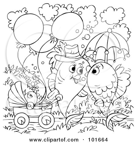 fishes kissing coloring pages - photo#24