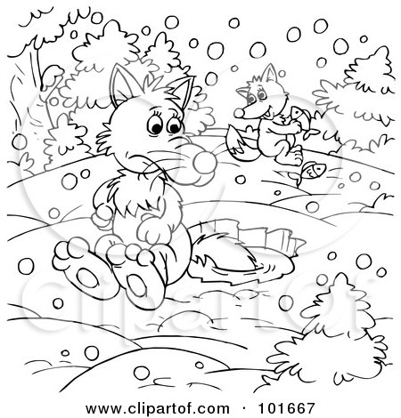 coloring page outline of a wolf and fox ice fishing