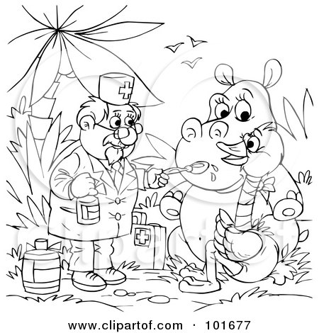 Royalty-Free (RF) Clipart Illustration of a Coloring Page Outline Of A Veterinarian Giving Medicine To A Hippo And Ostrich by Alex Bannykh