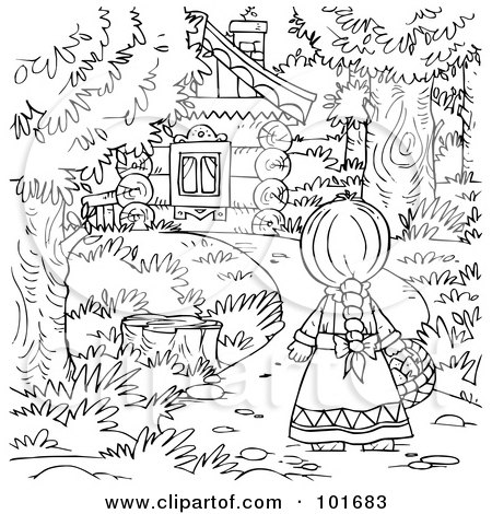 Royalty free rf clipart illustration of a black and for Little house in the big woods coloring pages