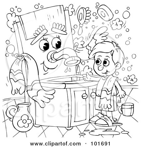 Royalty-Free (RF) Clipart Illustration of a Coloring Page Outline Of A Boy Talking To A Sink by Alex Bannykh