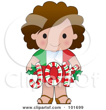 Royalty-Free (RF) Clipart Illustration of a Cute Italian Girl Holding Joy Christmas Candy Canes by Maria Bell