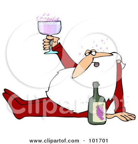 Royalty-Free (RF) Clipart Illustration of Santa Claus Sitting On The Floor In His Pajamas, Drunk Off Of Wine by djart