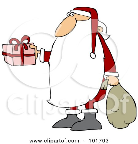Royalty-Free (RF) Clipart Illustration of Santa Claus With A Really Long Beard, Carrying A Sack And Holding Out A Gift by djart