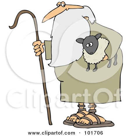 Clipart of a Pointing Shepherd in Tall Grass with Sheep Rams - Royalty ...