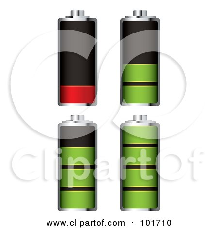 Royalty-Free (RF) Clipart Illustration of a Digital Collage Of Four Chome Batteries With Green And Red Juice At Different Charge Levels by michaeltravers