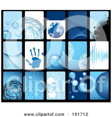 Royalty-Free (RF) Clipart Illustration of a Digital Collage Of 15 Blue Business Card Design Templates by michaeltravers