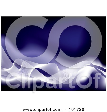 Royalty-Free (RF) Clipart Illustration of a Background Of White Flowing Waves Over Blue by michaeltravers