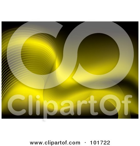 Royalty-Free (RF) Clipart Illustration of a Background Of Flowing Waves Over Yellow by michaeltravers