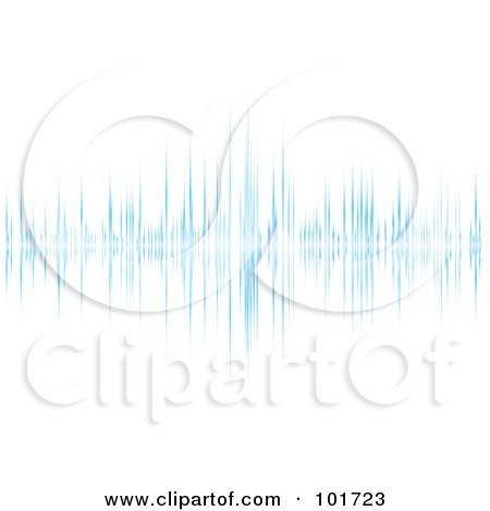 Royalty-Free (RF) Clipart Illustration of a Peak In A Blue Equalizer Wave On White. by michaeltravers