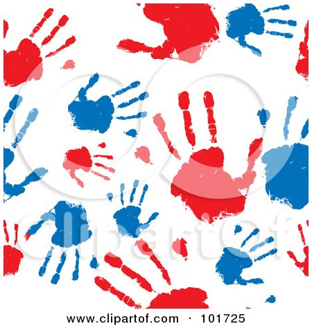 Royalty-Free (RF) Clipart Illustration of a Seamless Pattern Background Of Red And Blue Hand Prints On White by michaeltravers