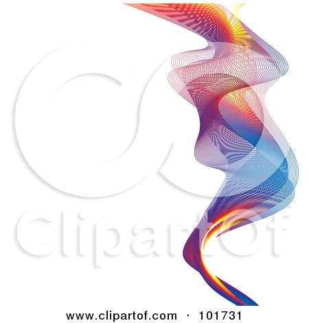 Royalty-Free (RF) Clipart Illustration of a Mesh Colorful Rainbow Wave On White by michaeltravers