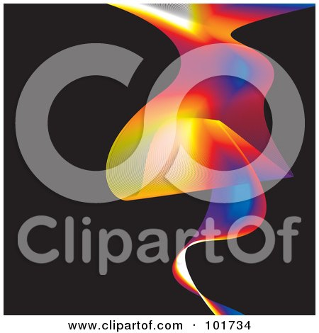 Royalty-Free (RF) Clipart Illustration of a Colorful Rainbow Wave On Black by michaeltravers