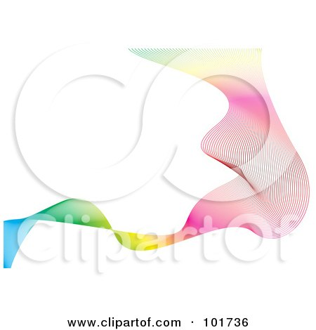 Royalty-Free (RF) Clipart Illustration of a Background Of Gradient Rainbow Mesh Waves Over White by michaeltravers