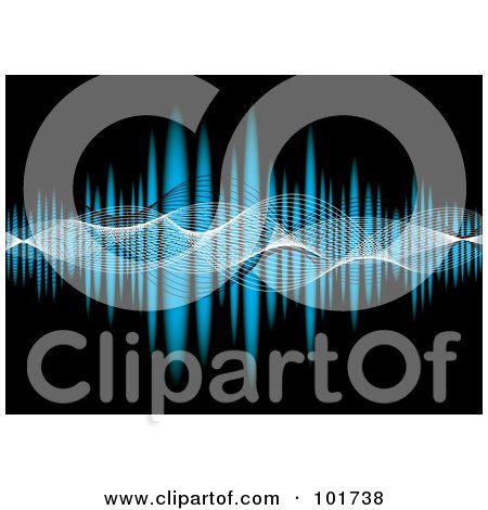 Royalty-Free (RF) Clipart Illustration of Mesh Waves Flowing Across A Blue Equalizer On Black by michaeltravers