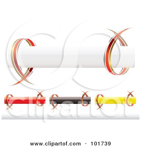Royalty-Free (RF) Clipart Illustration of a Digital Collage Of Four White, Red, Black And Yellow Shiny Banners With Ribbons by michaeltravers
