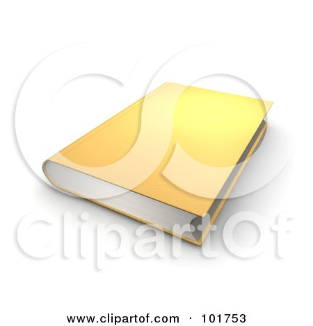 Royalty-Free (RF) Clipart Illustration of a Golden 3d Hardback Book by Jiri Moucka