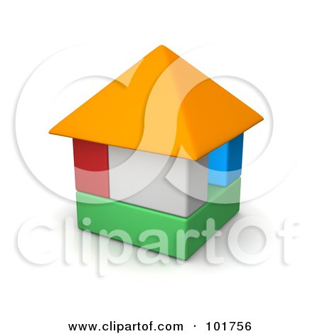Royalty-Free (RF) Clipart Illustration of a 3d Colorful Block House by Jiri Moucka