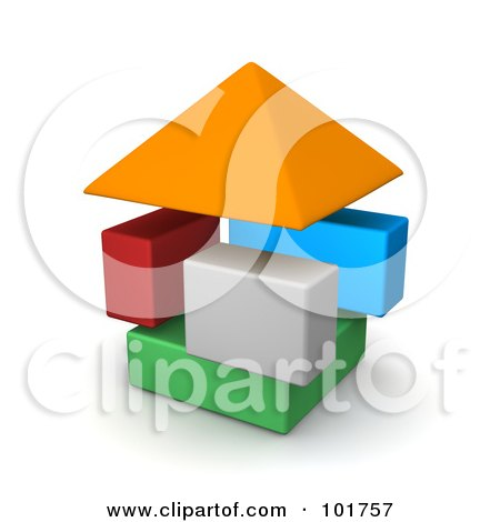 Royalty-Free (RF) Clipart Illustration of 3d Colorful Blocks Forming A House by Jiri Moucka