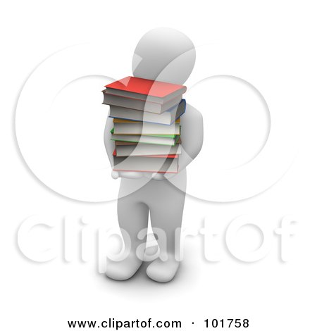 Royalty-Free (RF) Clipart Illustration of a 3d Blanco Man Carrying A Pile Of Books by Jiri Moucka