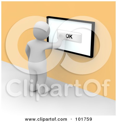 Royalty-Free (RF) Clipart Illustration of a 3d Blanco Man Pushing OK On A Touch Screen On An Orange Wall by Jiri Moucka