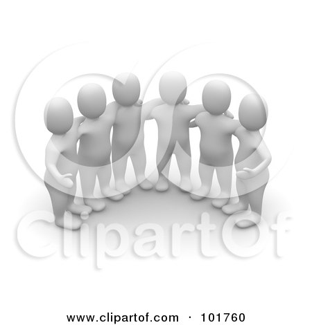 Royalty-Free (RF) Clipart Illustration of a Group Of 3d Blanco Man Huddled by Jiri Moucka