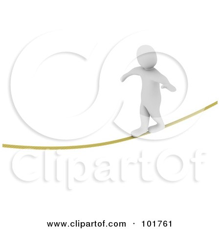 Royalty-Free (RF) Clipart Illustration of a 3d Blanco Man Walking A Tight Rope by Jiri Moucka